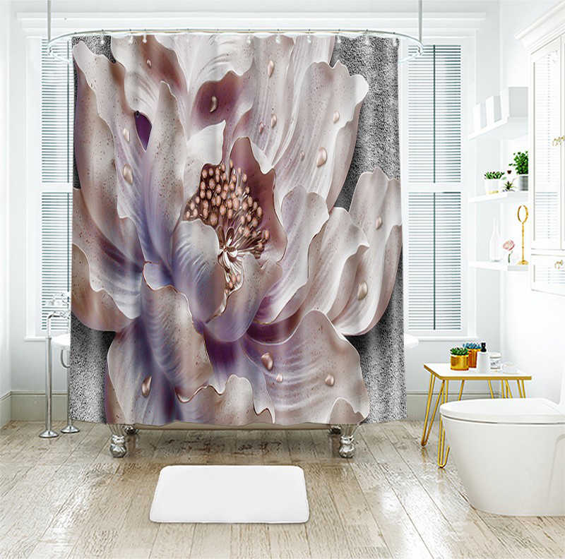 ثلاثية الأبعاد فراشة الماس لوتس زهرة نمط دش الستائر ستارة الحمام رشاقته مقاوم للماء ستارة حمام سميكة
