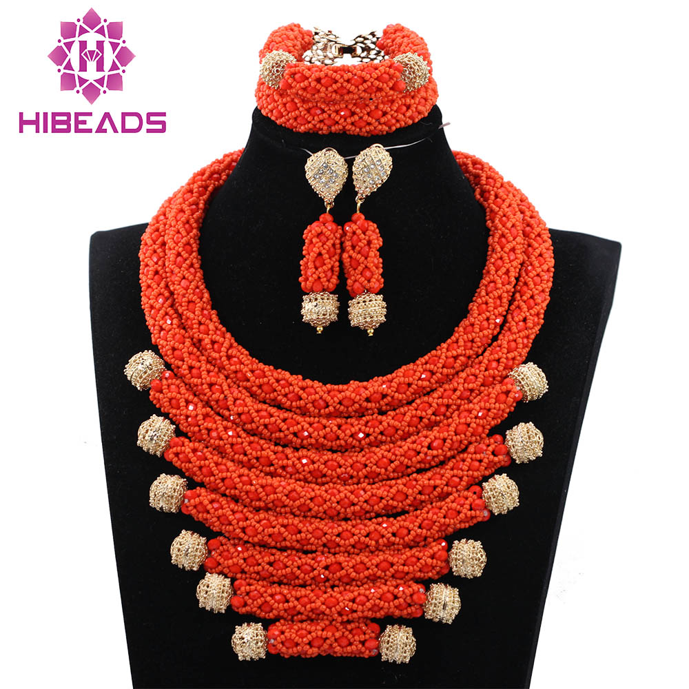 2017 Handmade Sets African Wedding Bridal Vintage Orange Crystal Nigerian Women Beads Necklace Jewelry Set Free Shipping ABH2782017 Handmade Sets African Wedding Bridal Vintage Orange Crystal Nigerian Women Beads Necklace Jewelry Set Free Shipping ABH278