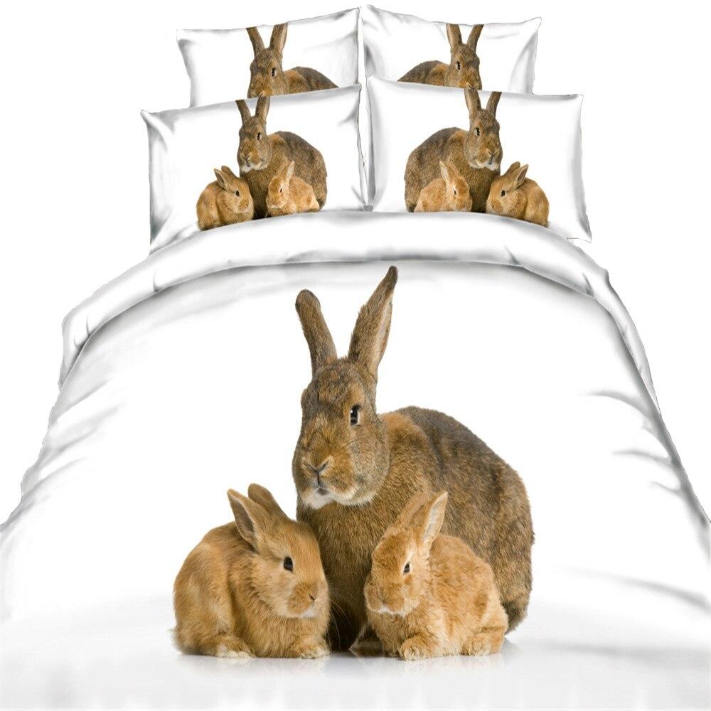 yeeKin New Design Animal Series Cotton Bedding Sets 3/4pcs 3D Printed Super Cute Rabbit/Cats/Cartoon Owl Quilt/Duvet Cover - 4