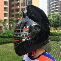 2017 Lovely cat ears Motorcycle helmet Black helmet racing Antifog personality design full face helmet capacete moto casco