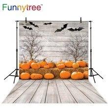 Funnytree halloween photography background party pumpkin wooden board bat tree backdrops photocall camera photophone fotografia