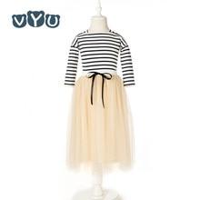 VYU Girls Set New Korean Child Clothing Teenager Kids Clothes Striped Full Sleeved T Shirt + Long Skirt 2 Piece Sets Age 3-14