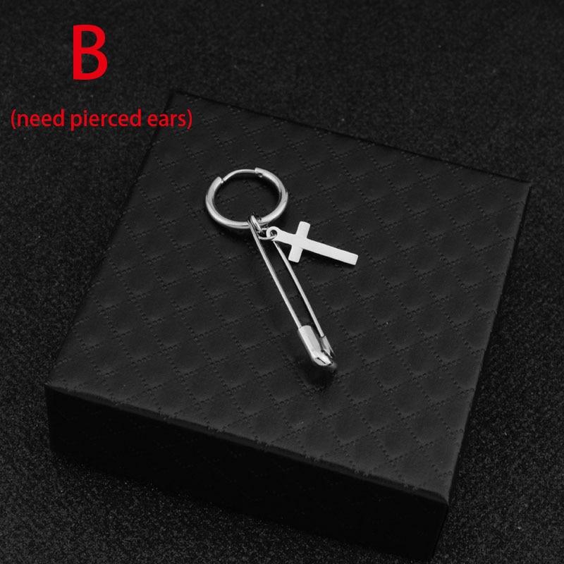 kang daniel Stainless Steel Cross Pin Pendant Stud Earring 9