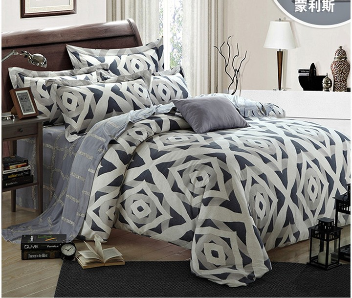 luxury geometric silver bedding set king size queen grey duvet cover bed in a bag sheets