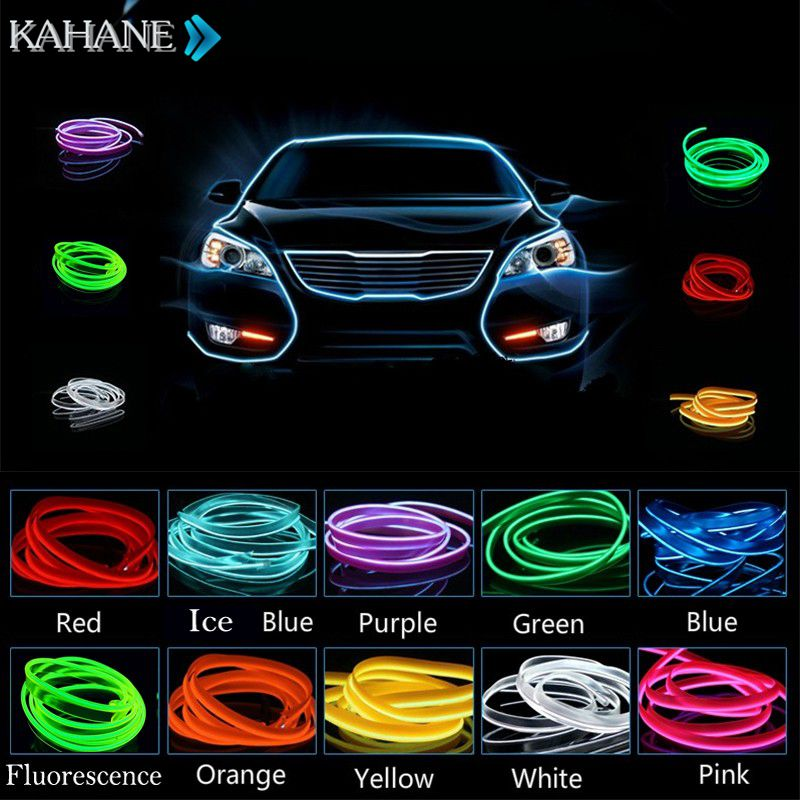 Car Styling 2M Car Interior EL Wire Glow Cold Light Line Dashboard Console Door for Audi A1 A3 A4 A5 A6 A7 A8 R8 TT Q3 Q5 Q7 R8 3d metal s line sline sticker car front grille adhesive emblem badge accessories styling for audi a1 a3 a4 a5 a6 a7 q3 q5 q7 tt