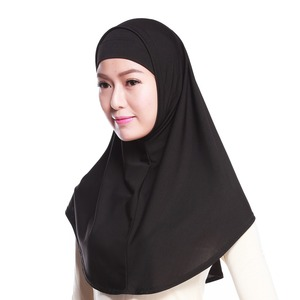 Image 2 - Women Muslim Sacrf Solid 2 Pieces Set Outer Scarf and Inner Cap Hijabs Muslim Islamic Scarf Scarves Solid Hijab Caps