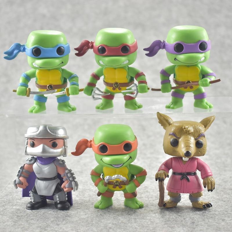 Funko POP 6PC / Brother Set TMNT Leonardo/Raphael/Michelang Action Figure Toy Cartoon Digital Collection Model Birthday Gift Toy