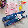 Reffled sleeve shirt +overalls baby girl clothing set Cartoon Owl overall jeans Cotton shirts denim pants girls clothes KD185