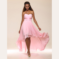 TS Couture A Line Princess Strapless Sweetheart Floor Length Asymmetrical Chiffon Prom Formal Cocktail Dresses With