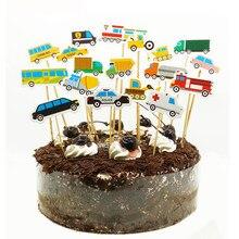 18 teile/satz Cartoom Auto Kuchen Topper Junge Kinder Geburtstag Dekorationen Lkw Krankenwagen Taxi Zug Toppers Kuchen Decor Taufe Favor