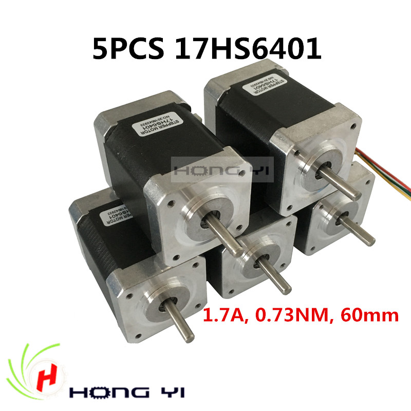 5PCS nema17 stepper motor 60mm / 2-phase hybrid stepper motor (1.7A, 0.73NM, 60mm, 4-wire) stepper motor 17HS6401 CNC