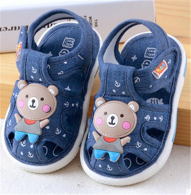 Tela de Mezclilla suave Bebé Niños Niñas Infantiles 0-6 6-12 12-18 18-24 verano Nueva Primeros Caminante Zapatos Del Niño Del Resbalón-Prueba de Sonido