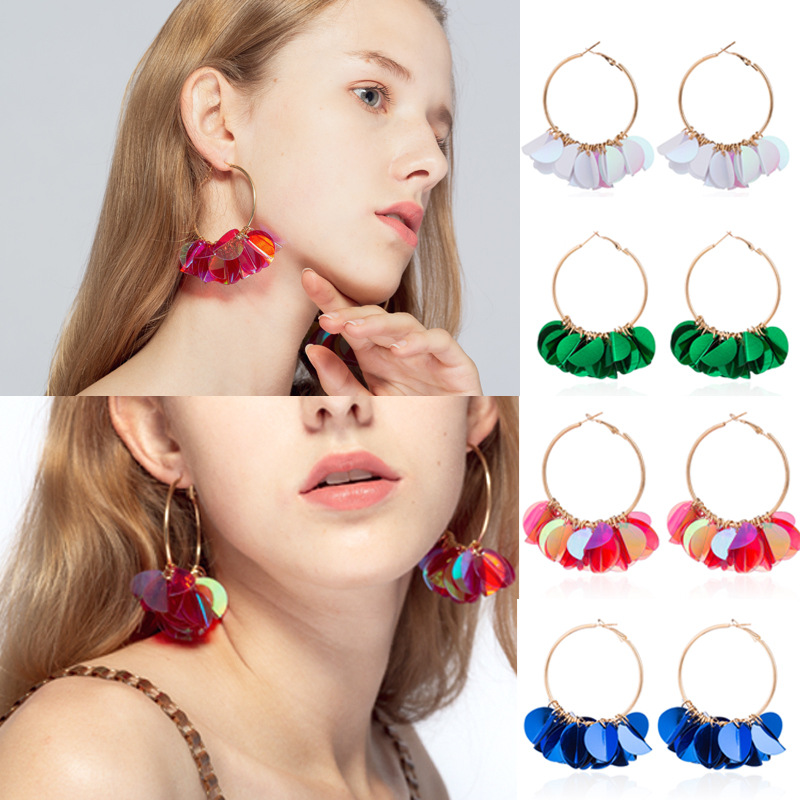CXW Floral-sequined alloy earrings for women of European and American fashion brands 2019 jewelry H12