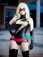 Free Shipping DHL Woman Sexy Black and Gold Shiny Metallic Ms Marvel Costume Party Fit Suit Super Hero Zentai Catsuit SHC101