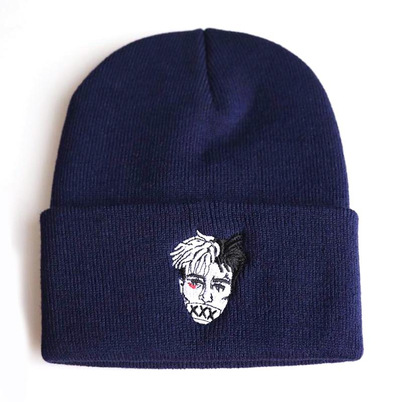 f088683fb7b019 xxxtentacion singer embroidery beanie cap rock singer Hip hop hat unisex  autumn winter warm hats cotton flexible ski caps-in Skullies & Beanies from  Apparel ...