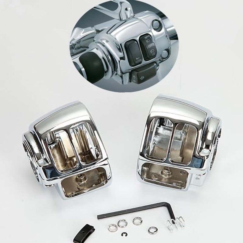 2x Chrome CNC Motorcycle Handlebar Switch Housing Covers For Harley Davidson Sportster XL883 XL1200 Dyna Softail V-Rod 1996-2012 motorcycle cnc engine derby timer and timing cover for harley davidson sportster xl883 xl1200 xl883n xl1200c 48 72 accessories