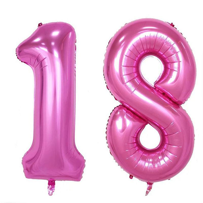 40 Inch Pink Number 18 Mylar Balloons Birthday Number 1