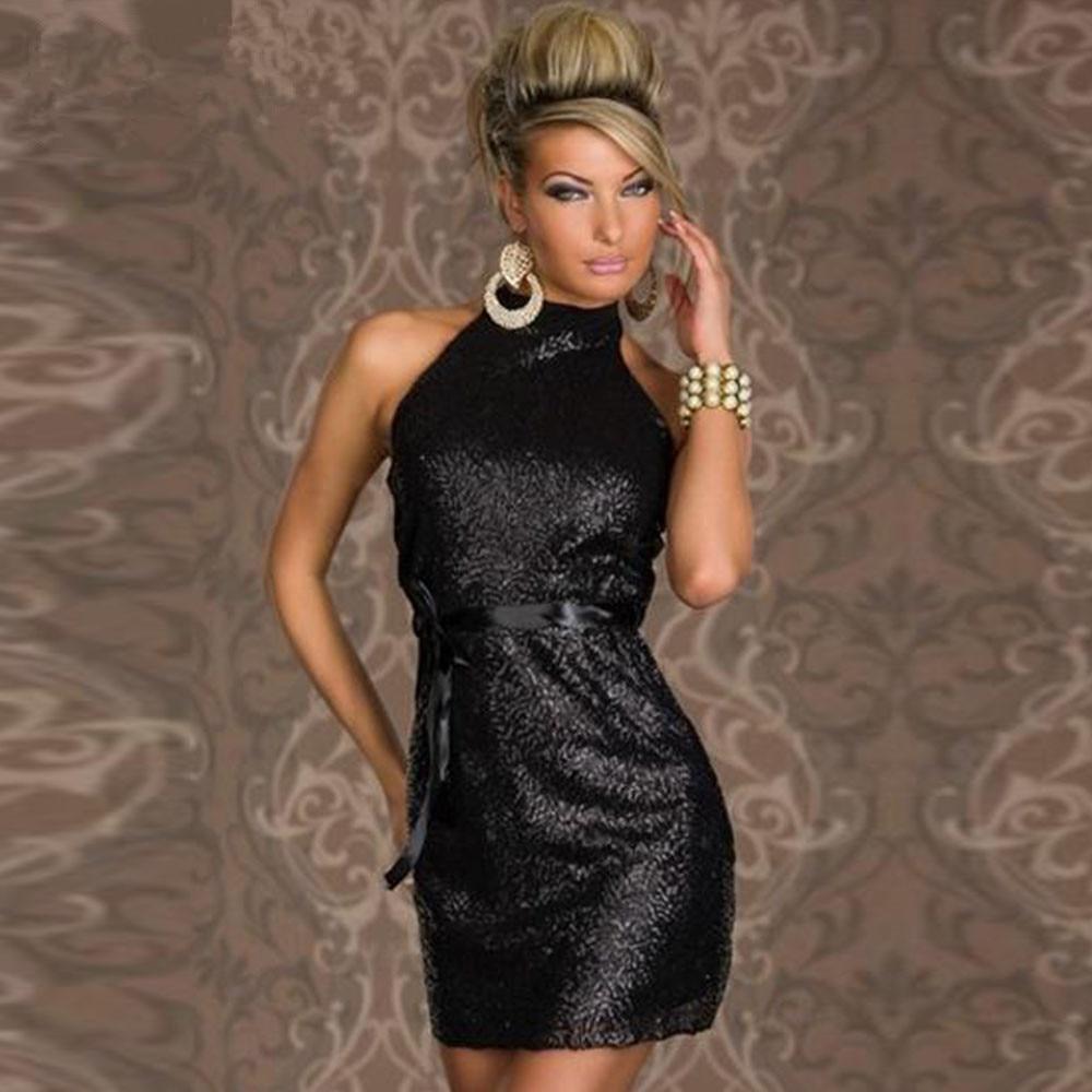Letní Mini Slash Fascinující a okouzlující ženy Turtleneck Backless Sparkling Clubwear šaty Bow Robe šaty Šaty W84320A  t