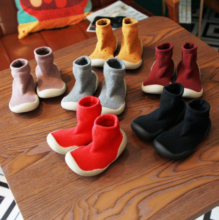 Baby Toddler Shoes Baby  Shoes Non-slip Soft Bottom Cotton Thickening Shoes Sock Floor Shoes Foot Socks 7colors Tz04