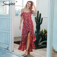 Simplee Bobo Print Long Summer Dress Women Sexy Off Shoulder Red Floral Maxi Dress 2018 Beach