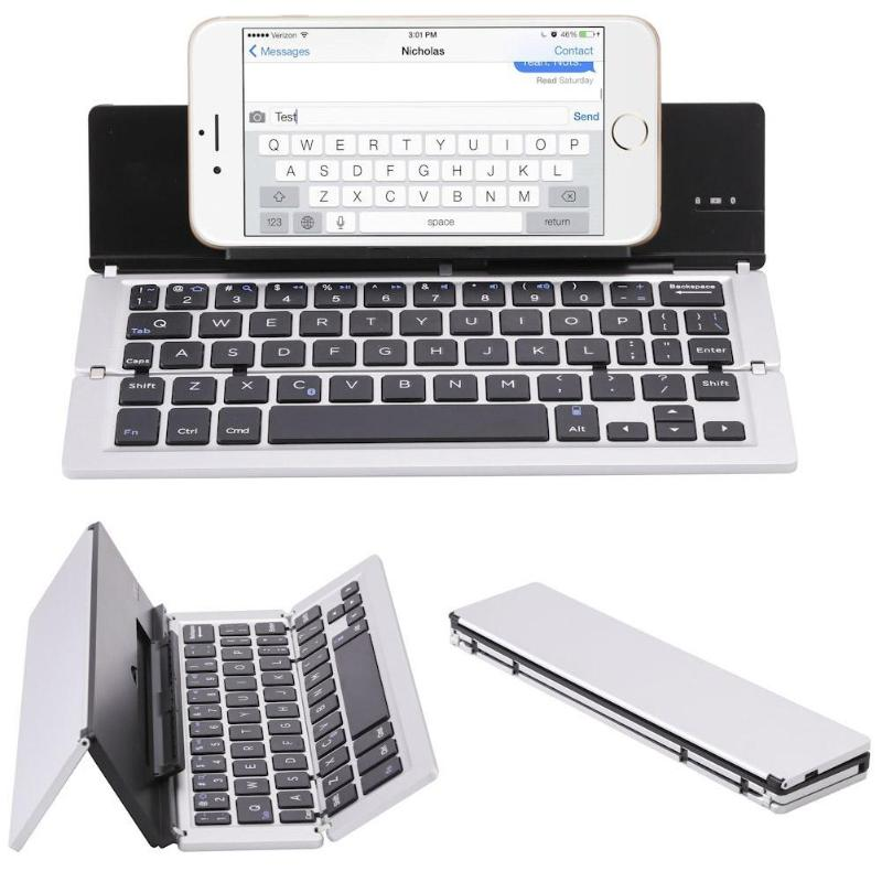 Slim Mini Folding Keyboard Triple 59 keys Wireless Bluetooth Keyboard for iPhone Samsung Smartphones/Android/ios/Tablet PC /iPad image