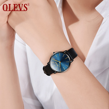 OLEVS Fashion Women's Wrist Watches Top Luxury Brand Ladies Geneva Quartz Clock Female Leather Wristwatch relojes mujer 2018