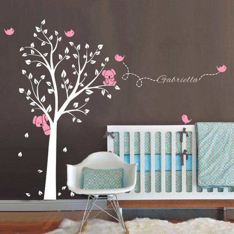 Surdimensionné 250x200 cm Koala arbre oiseaux Sticker mural nom personnalisé vinyle stickers pour pépinière bébé chambres décor décoration de la maison