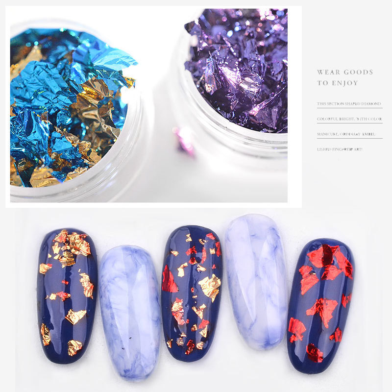 Nail Art Colorful 3D Glitter Aluminum Foils Flake Sticker UV Gel Polish Full Cover Laser DIY Nail Decoration Tools in Rhinestones Decorations from Beauty Health