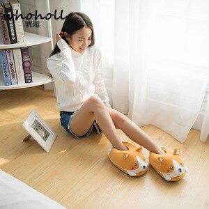 Image 3 - Homen Slippers Female Winter Plush Corgi Slippers Warm Women Floor Indoor Shoes Cute Funny Adult Slippers Flat Zapatillas Woman