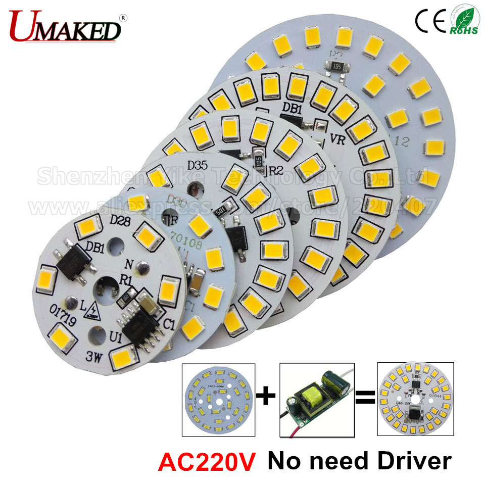 10pcs ac 220v led pcb SMD2835 3w 5w 7w 9w 12w 15w integrated ic driver Led beads smart IC SMD Led Light Source For LED Bulb