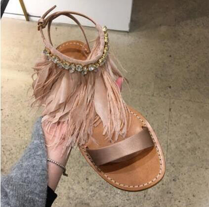 Summer newest flat sandal for woman 2017 sexy open toe gladiator sandal feather crystal embellished ankle strap tassel sandal new fashion big pearls beaded woman flat shoes 2017 sexy open toe sandal crystal embellished slides
