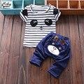 (2 pçs/set) Baby T-shirt curto set crianças Conjunto de Roupas de Marca Menino/Menina Roupas 100% Algodão T do urso calças
