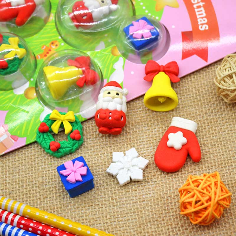 Kawaii Eraser Stationery Creative Cartoon Christmas Tree Eraser Stationery Set Creative Christmas Gifts Student Prizes