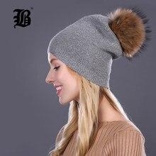 c428d82b38eaf  FLB  sombreros de invierno para las mujeres gorros de lana sombrero 2018  nueva moda doble Caps con los Rhinestones Real Mink pi.