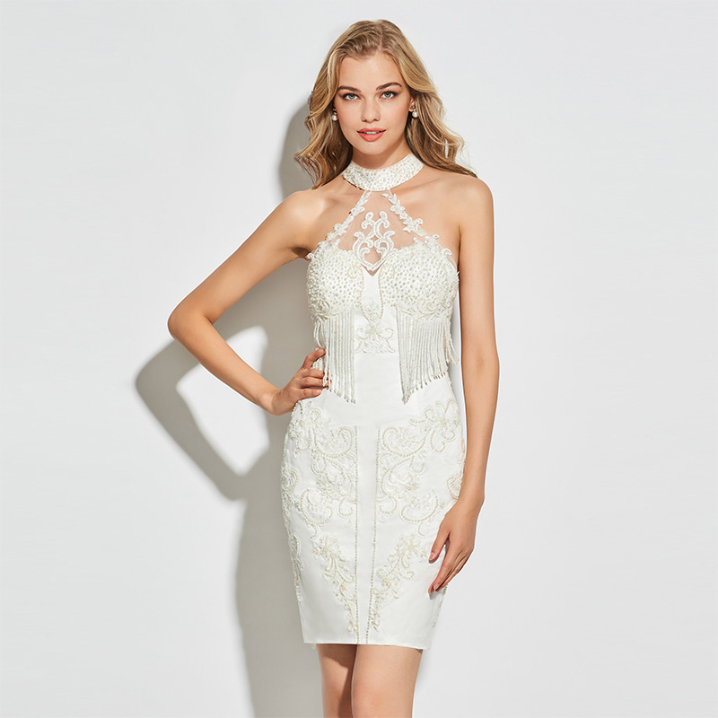 Tanpell sexy sheath short   cocktail     dress   ivory high neck above knee   dress   women beading tassel formal customed   cocktail     dresses