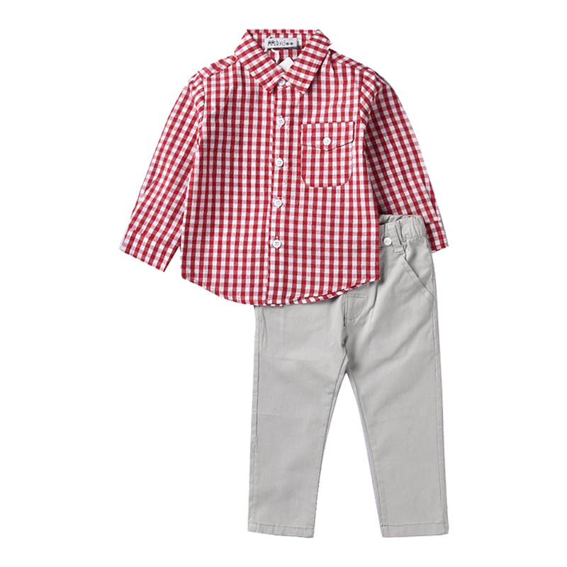 New Fashion Kids Clothes 2018 Autumn Cotton Children Boys Sets Child Plaid Shirt +Trousers 2PCS/Set Baby Boys Clothes Suit 1-5Y malayu baby kids clothing sets baby boys girls cartoon elephant cotton set autumn children clothes child t shirt pants suit