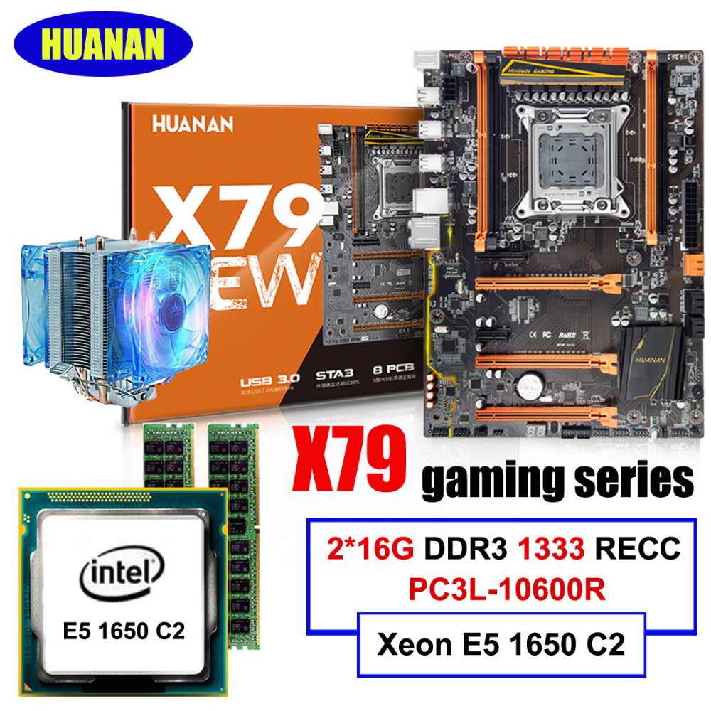 HUANAN deluxe X79 LGA2011 motherboard CPU RAM set with CPU cooler Xeon E5 1650 C2 RAM 32G(2*16G) DDR3 1333MHz RECC all tested new arrival huanan x79 deluxe motherboard cpu ram set x79 lga2011 motherboard intel xeon e5 2660 c2 ram 16g 2 8g ddr3 recc