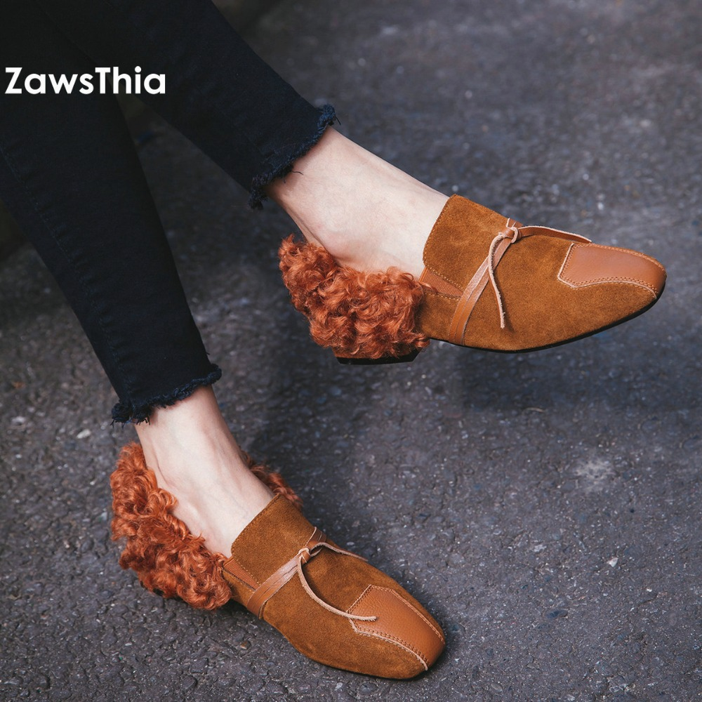 ZawsThia women genuine real cow leather square heel wool blend fur curry fury  flats winter autumn slip on loafers female shoes slhjc 2017 autumn flat heel shoes pointed toe women flats with metal chain real fur loafers work shoes d25