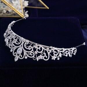 Image 5 - נסיכה high end מלכת מלא זירקון מצנפות כתרים עבור כלות פניני חתונת Hairbands קריסטל חתונה שמלת אביזרי