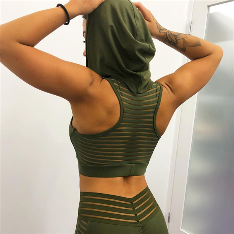 Back Mesh Stripes Breathable Yoga Top Women Hooded Gym