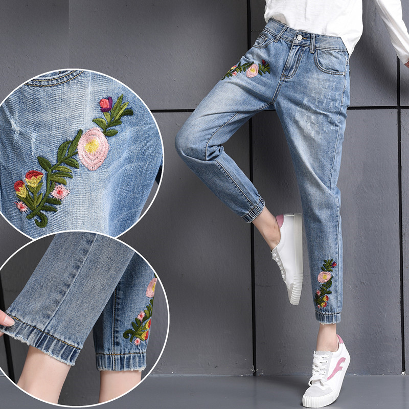 Pockets Casual Ankle Length Embroidery Summer Hole Denim Harem Pants Fashion Floral Jeans Ripped Jeans For Women TT2395 boyfriend jeans women ankle length washed denim summer vintage hole ripped letter embroidery harem pants female casual streetwea