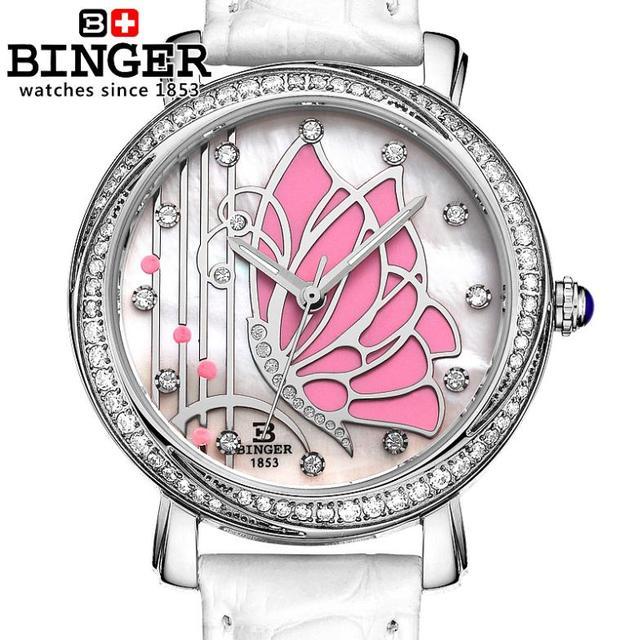 Switzerland Binger Women's watches fashion luxury watch leather strap quartz  butterfly diamond Wristwatches B-3019L