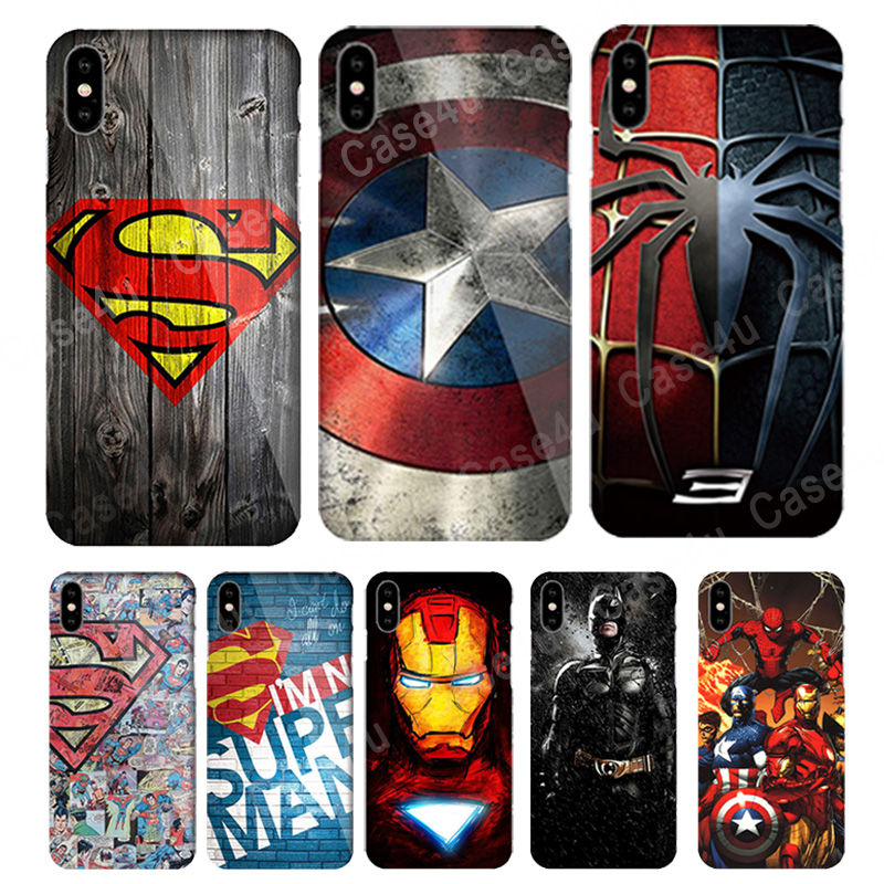 Marvel Avengers Superman Case for Coque iPhone X 5s 6 6s 7 8 Plus Spider Batman Captain American Phone Cover for iPhone 10 чехлы марвел