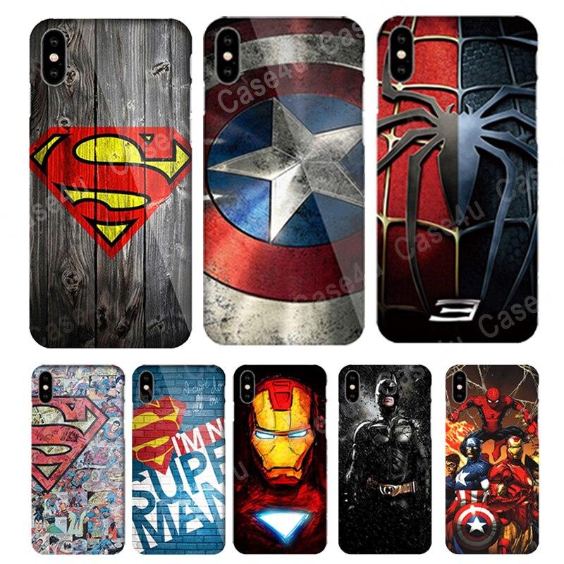 Marvel Avengers Cover Case for Coque iPhone 10 5s 6s 7 8 Plus 7Plus 8plus Spiderman Batman Capa funda for iPhone X case luxury