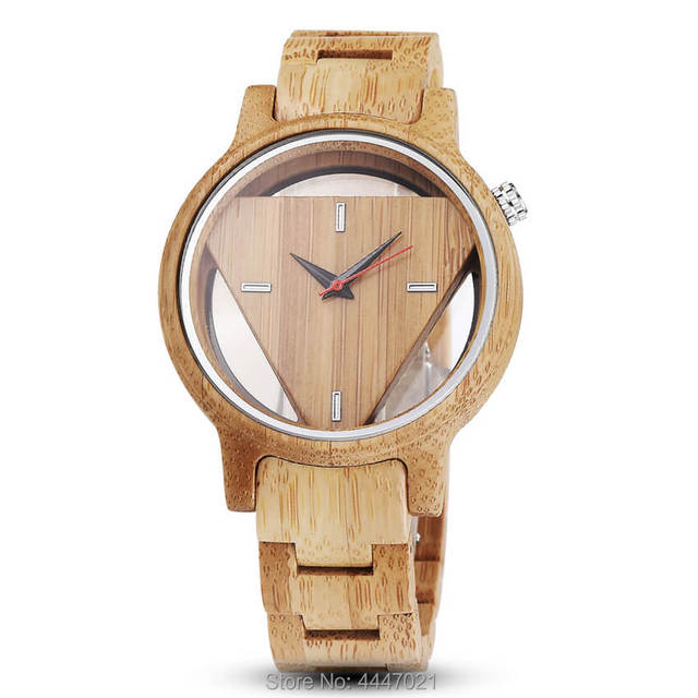Mens Wooden Watches Hand-Made Engraved Inverted Triangle Wood Watch Men Women Creative Quartz Watch Gifts relogio masculino