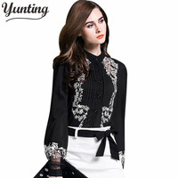 2017 Embroidery Blouse Standard Collar Lantern Sleeve Shirt High Quality Cropped Top For Ladies Work Wear