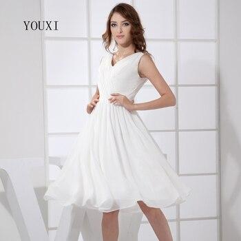 f20908a30ca21 Seksi V Yaka Beyaz balo kıyafetleri 2019 Sıcak Şifon Diz Boyu Kokteyl Parti  Elbise Kadınlar Için PD101