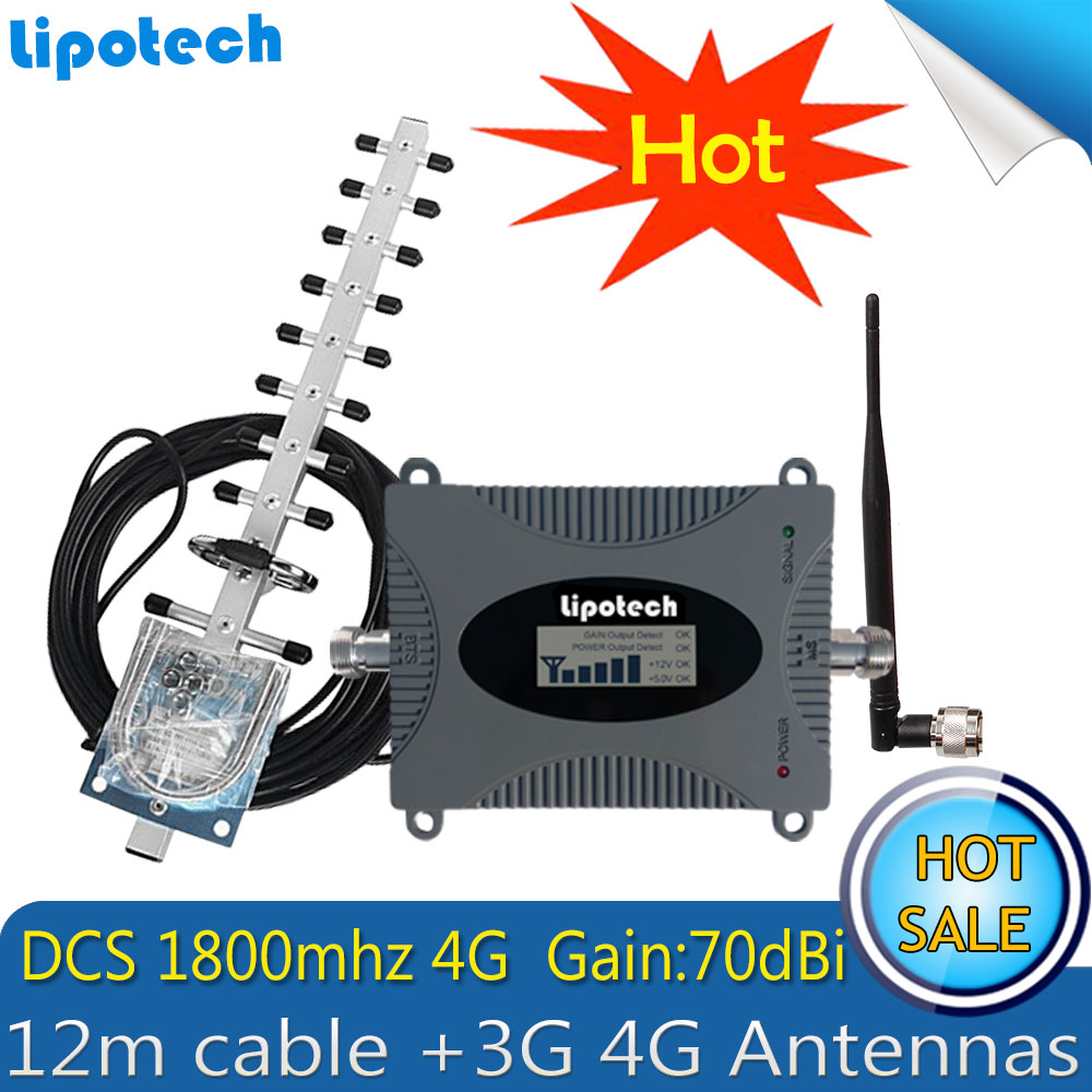 Lintratek 4G 1800Mhz LTE Repeater GSM Signal Booster Mobile Signal Repeater 4G Cellphone Signal Amplifier with 3G Antenna
