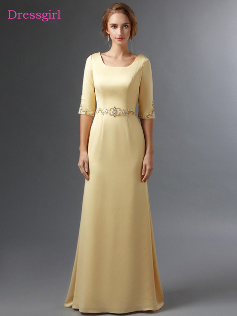 Gold 2018 Mother Of The Bride Dresses A Line Half Sleeves Chiffon