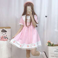 Korean Mori Girl Summer Sweet Lolita Kawaii Strawberry Embroidery Dress Short Sleeve Lace Trim Loose Dolly Dress 2 Colors